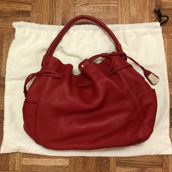 6c413b3d6a Cole Haan Handbags - Cole Haan Red Leather Denney Drawstring Bag